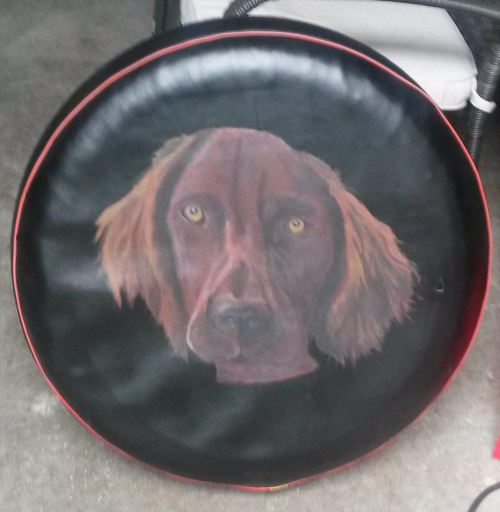 hond-op-band reservewiel tekening jeroen middelkamp jmillustraties kreukvaste verf