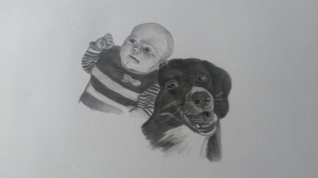hond en kind illustratie pentekening portrettekening jeroen middelkamp jmillustraties