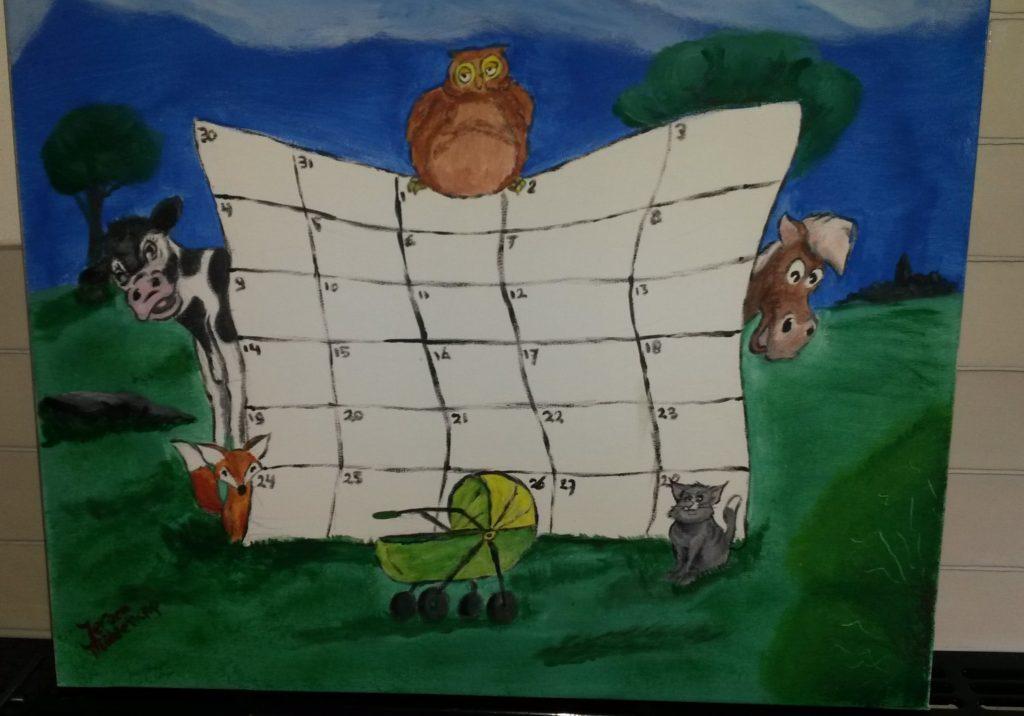 babyshower kalender jmillustraties schilderij jeroen middelkamp illustratie