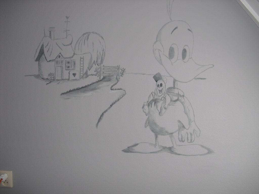 Alfred j kwak wandtekening muurschildering jeroen middelkamp jmillustraties