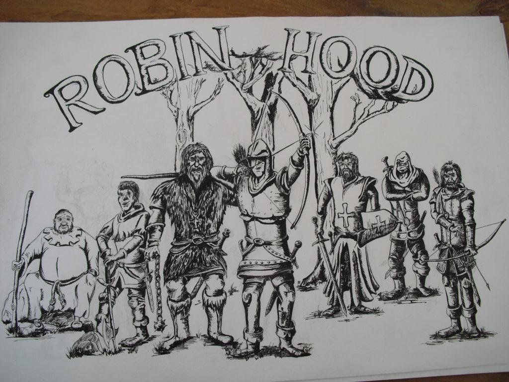 Robin Hood pentekening portrettekening jeroen middelkamp jmillustraties