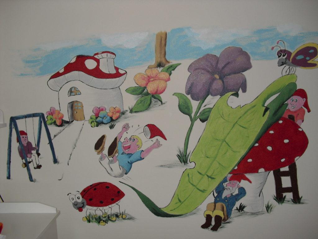 Kabouterdorp wandtekening jeroen middelkamp muurschildering