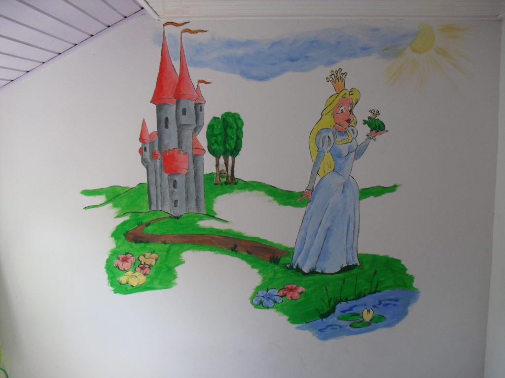 Princes en de kikker wandtekening muurschildering jeroen middelkamp kinderkamer