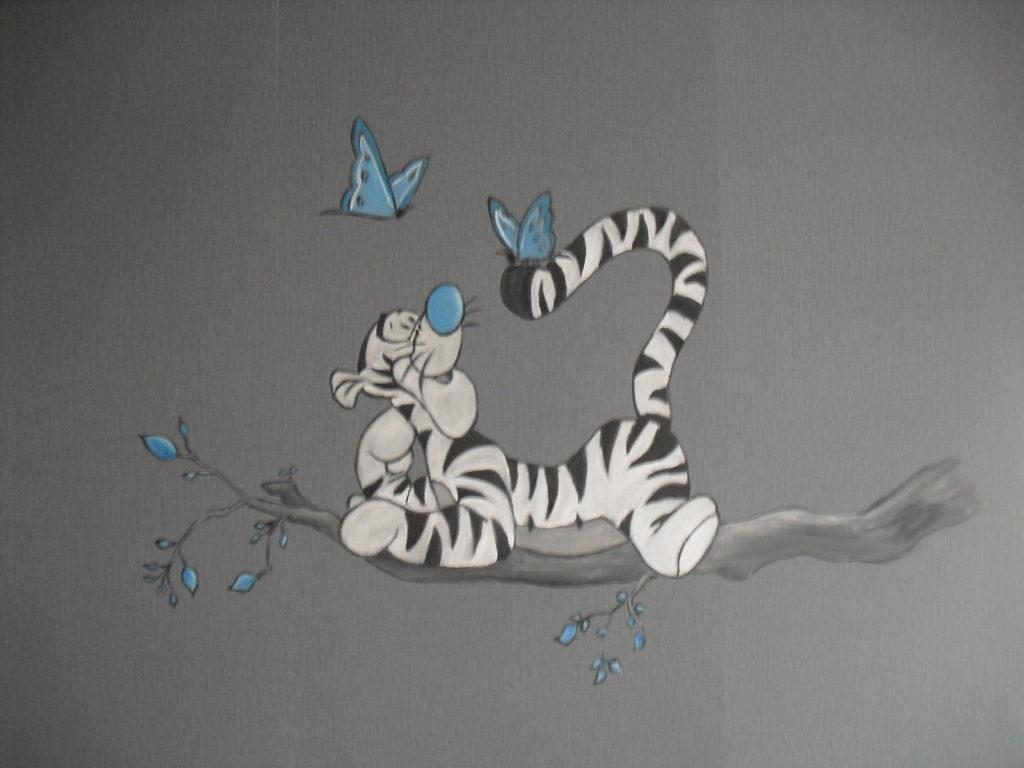 Tijgertje wandtekening jeroen middelkamp muurschildering muurschilderij