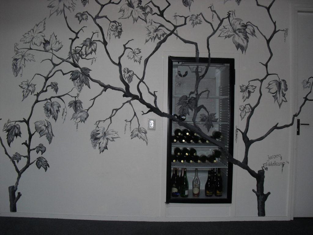 Wijnbladeren wandtekening muurschildering jeroen middelkamp bloemen