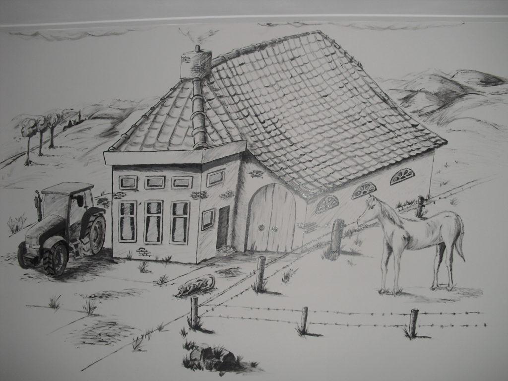 boerderij wandtekening muurschildering jeroen middelkamp kinderkamer