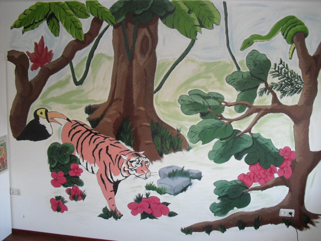 jungle jungletekening muurschildering wandtekening jeroen middelkamp