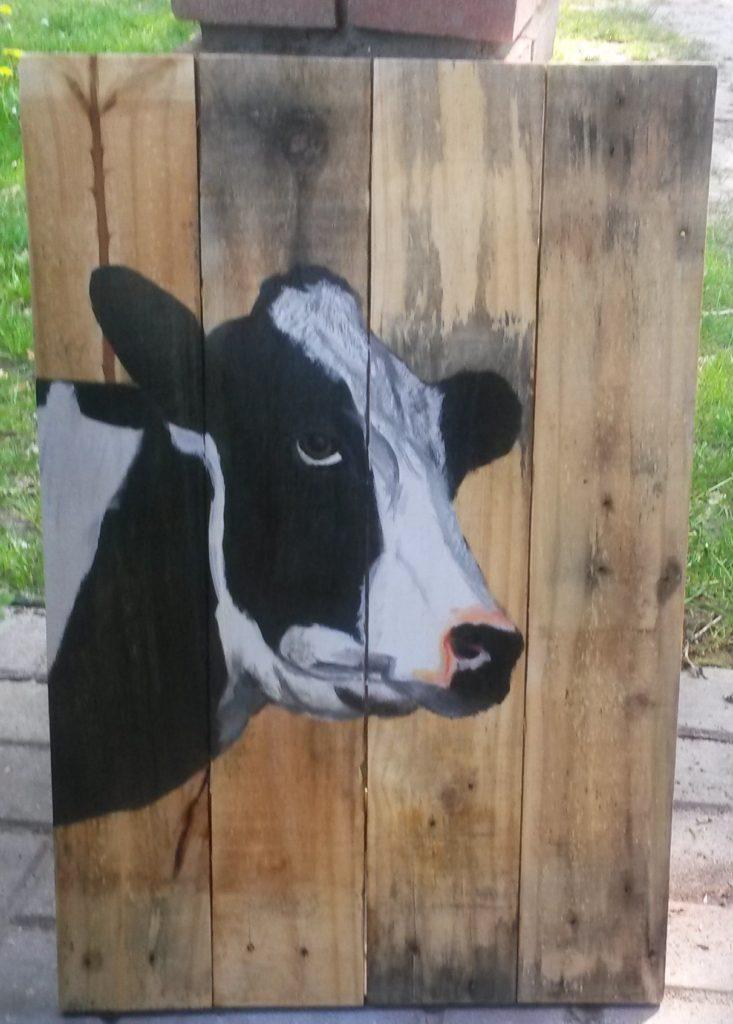 koe op houten schilderij jeroen middelkamp binnen en buiten
