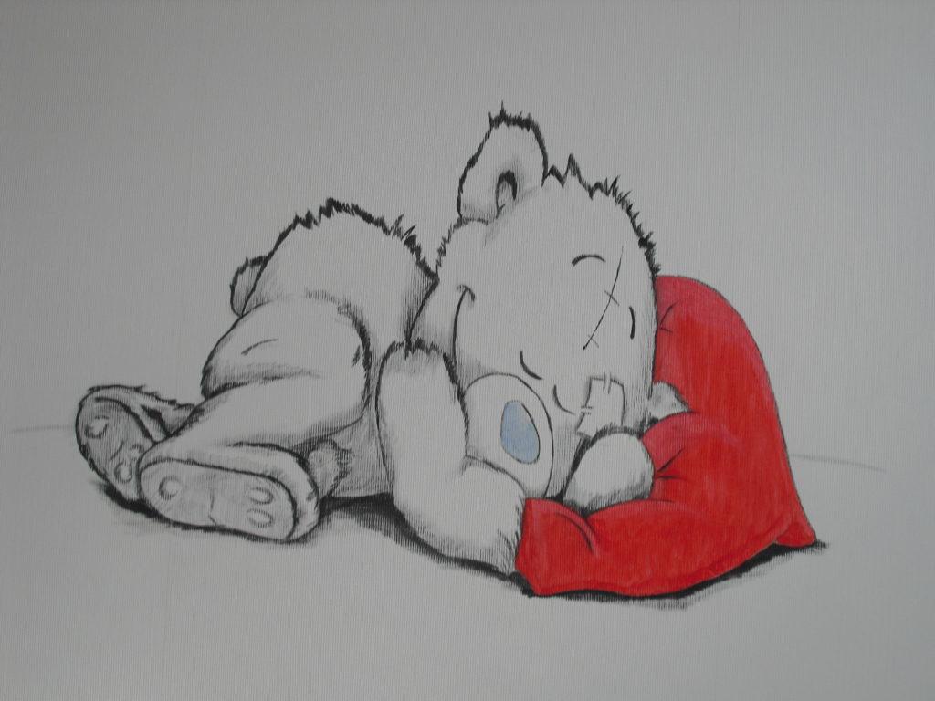 slapende beer wandtekening muurschildering jeroen middelkamp jmillustraties kinderkamer