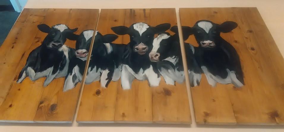 3-luik koeien houten schilderij jeroen middelkamp jmillustraties verfen buitenschilderij