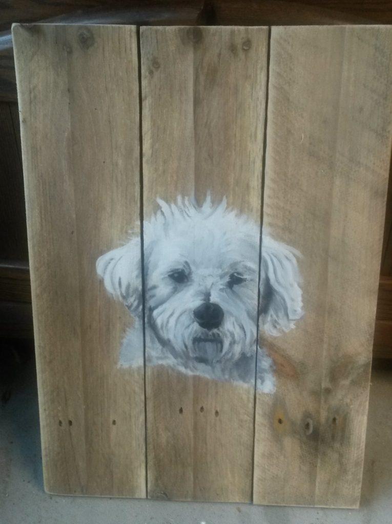 Boomer hond houten schilderij jeroen middelkamp jmillustraties schilderij voor buiten