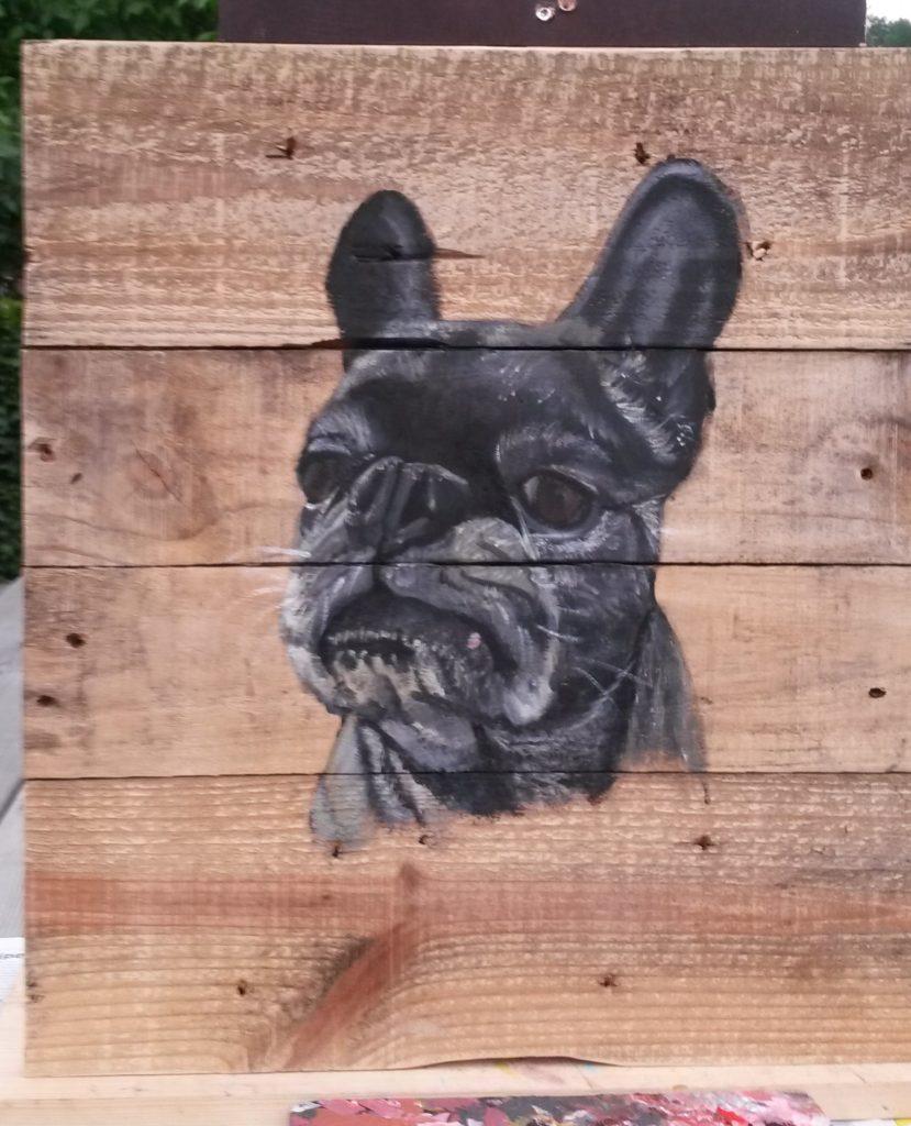Franse Bulldog jeroen middelkamp jmillustraties houten schilderij voor buiten hond