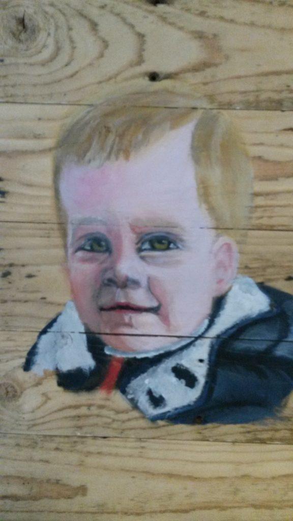 Jongen kind op hout houten schilderij jeroen middelkamp jm illustratiesschilderij voor buiten
