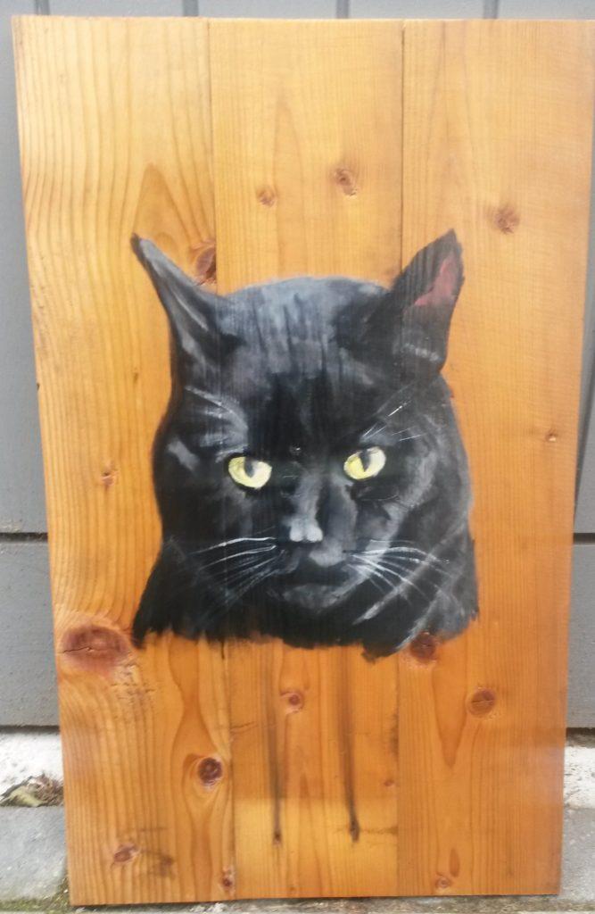 Zwarte kat jeroen middelkamp jmillustraties houten schilderij voor buiten
