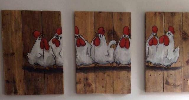 jeroen middelkamp jmillustraties schilderijen op hout kippen chickies