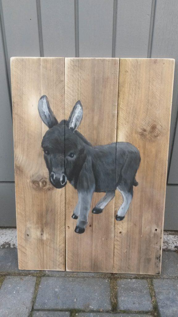 ezel op hout houten schilderij jeroen middelkamp jmillustraties schilderij voor buiten