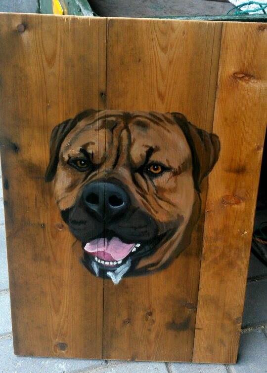 jmillustraties jeroenmiddelkamp.nl schilderij op hout buitenschilderij acrylverf hond houten schilderij