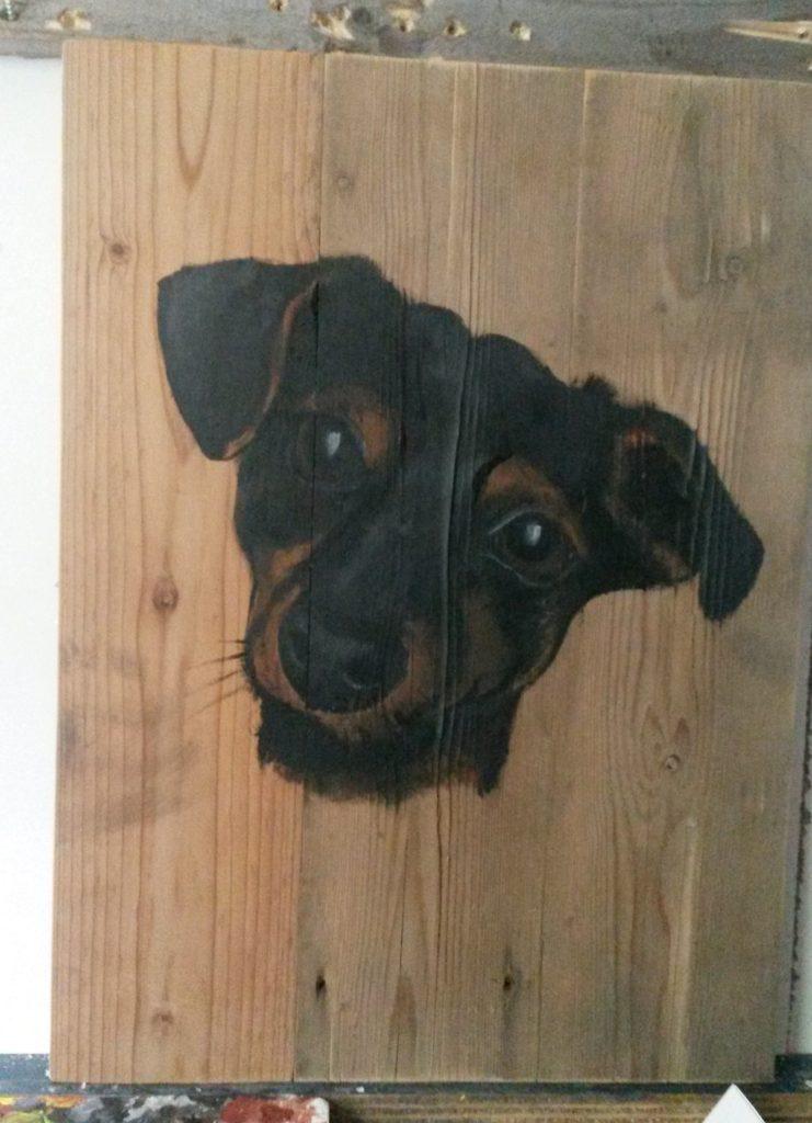 Jack Russel hond op hout houten schilderij jeroen middelkamp jmillustraties buiten schilderij acryl verf