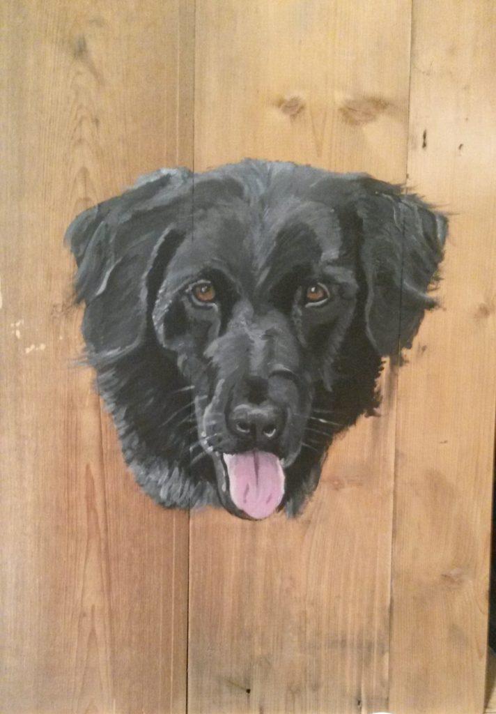 Hond Boris Zwart schilderij op hout jmillustraties jeroen middelkamp acrylverf schilderij voor buiten hout schilderen