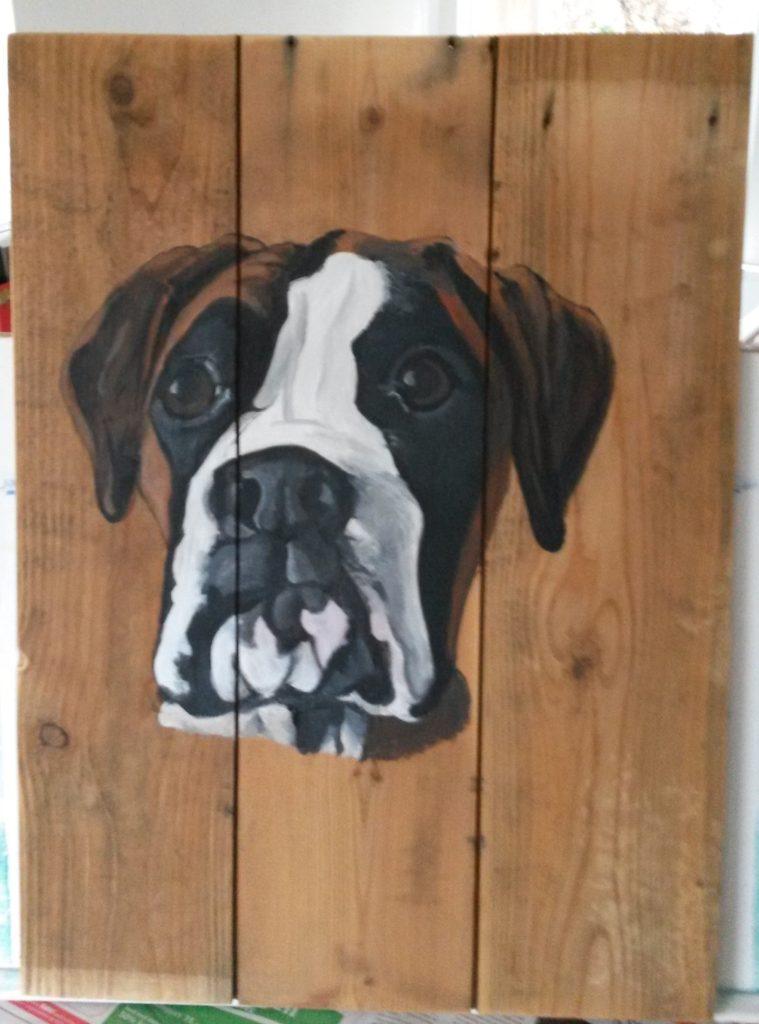 boxer schilderij op hout houten schilderij hond acrylverf jmillustraties jeroen middelkamp