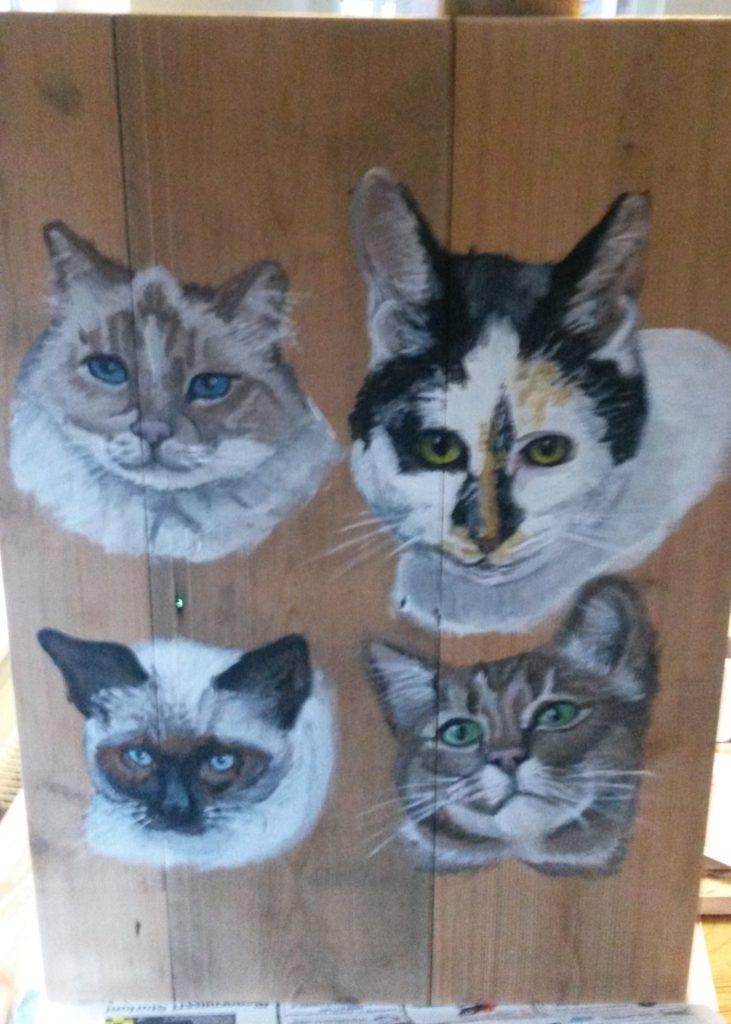 4 katten jeroen middelkamp jmillustraties houten schilderij schilderen poezen poes jmillustraties jeroen middelkamp