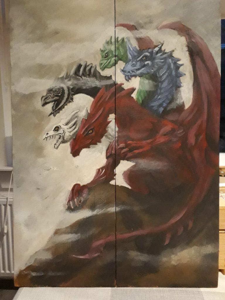 Draak, jmillustraties, houten schilderij, schilderen op hout, tiamat, 5-koppige draak, acryl verf, jeroen middelkamp, dungeons and dragons, draken