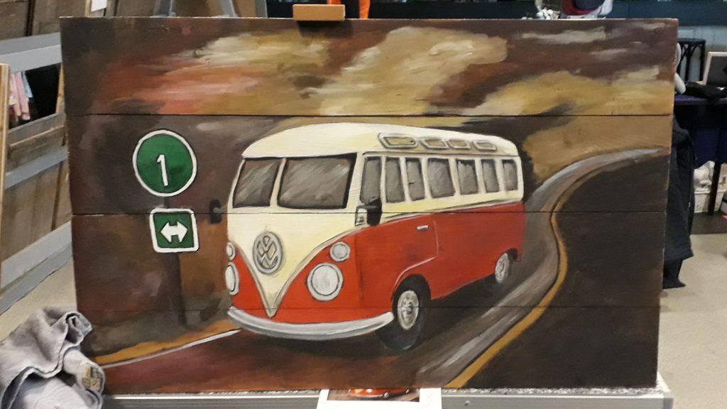 vw-bus, bus, t1, vw transporter, houten schilderij, schilderij op hout, acrylverf, jaren 60, jeroen middelkamp, jmillustraties,