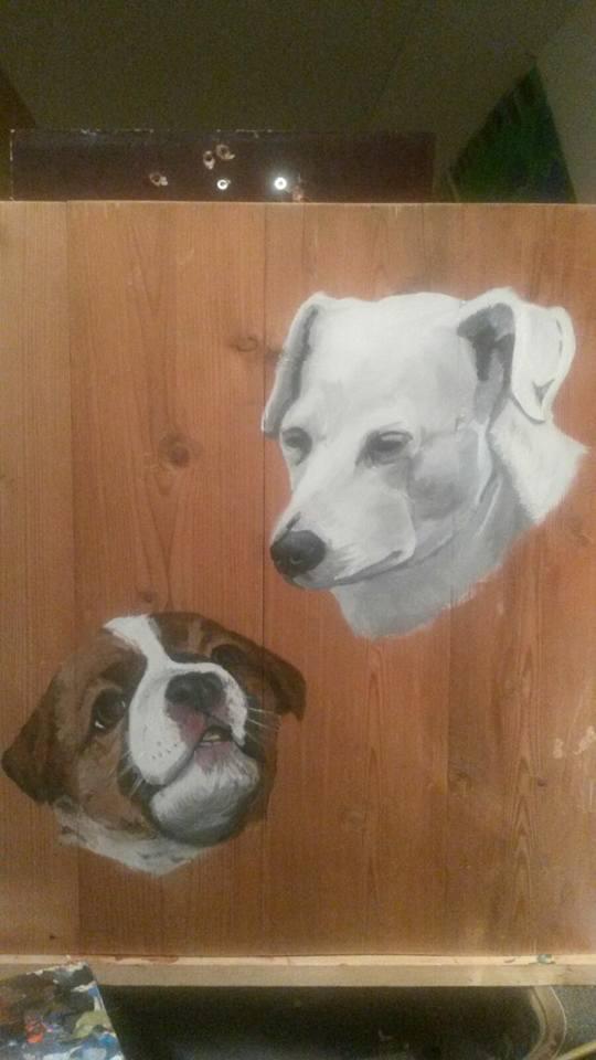 2 honden, houten schilderij, schilderij op hout, acrylverf, Jeroen Middelkamp, JMillustraties, schilderij voor buiten, 2 honden
