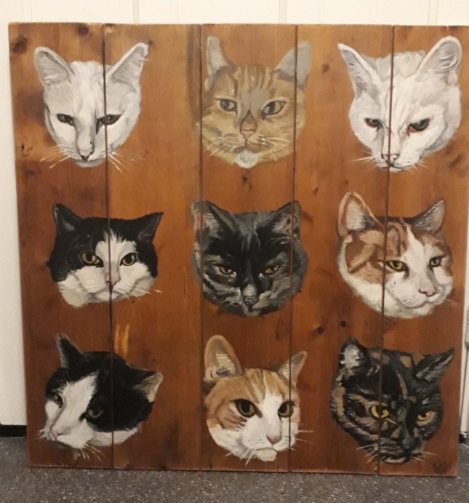 Jereon Middelkamp, JMillustraties, schilderij, schilderen op hout, katten op hout, acryl, buitenschilderij, katten op hout, houten schilderij, katten, poezenkoppen, kattenkoppen