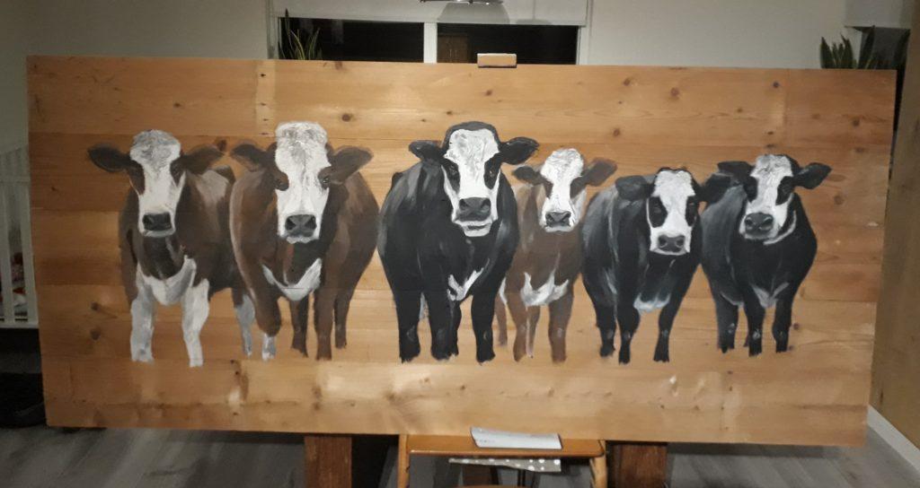 Blaarkoppen, koeien, koeien op hout, schilderij, acrylverf, schilderij op hout, buitenschilderij, JMillustraties, Jeroen Middelkamp, verven op hout, schilderen op hout