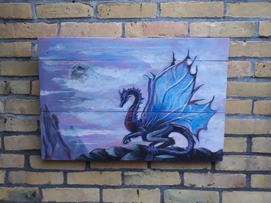 draken; draak; draakschilderij; houten schilderij; schilderij van hout; mystiek; fantasiedieren; jmillustratie; jeroen middelkamp