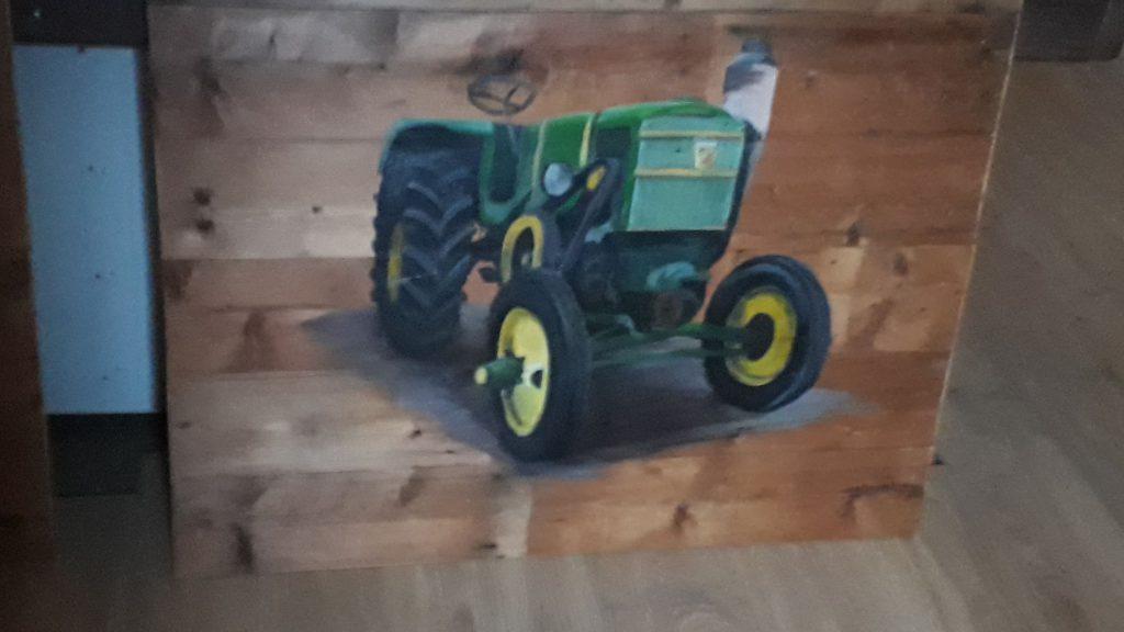 Houten schilderij, schilderij op tout, trekker op hout, schilderen, old timer, verf, john deere, jmillustraties, jeroen middelkamp