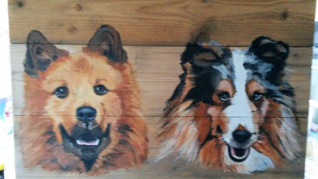 Honden; Jeroen Middelkamp; jmillustraties; houten schilderij; schilderij op hout; geschilderde hond; hond geschilderd; acrylver; uniekf