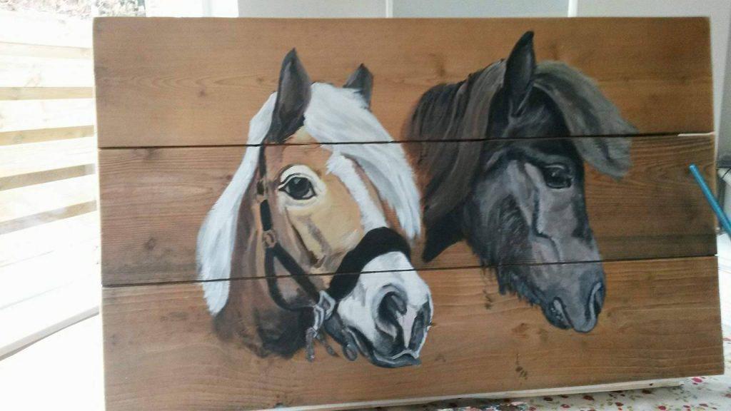 paardenschilderij; paarden; schilderij op hout; buitenschilderij; jeroen middelkamp; jmillustraties; acylverf; houten schilderij