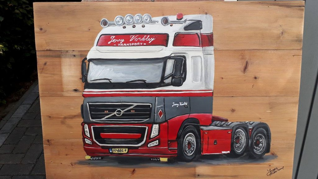 Vrachtwagen, houten schilderij, schilderij voor buiten, jerry verklei, jeroen middelkamp, JMillustraties, acrylverf, vrachtauto geschilderd