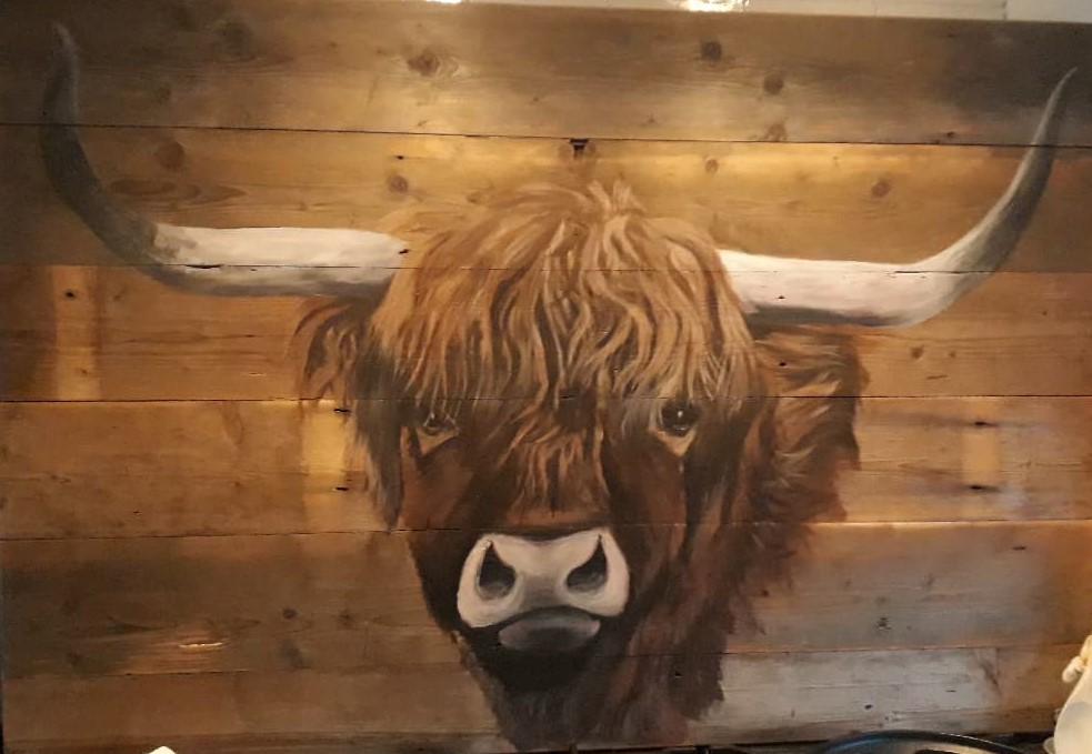 jmillustraties, jeroen middelkamp, schotse hooglander, acrylverf, houten schilderij, schilderen op hout, koe, schilderij voor buiten,